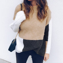 Womens Casual Long Sleeve Jumper O Neck Stitching Color knitted sweater Tops knit sweater women knitted sweater #3N19 #F(China)