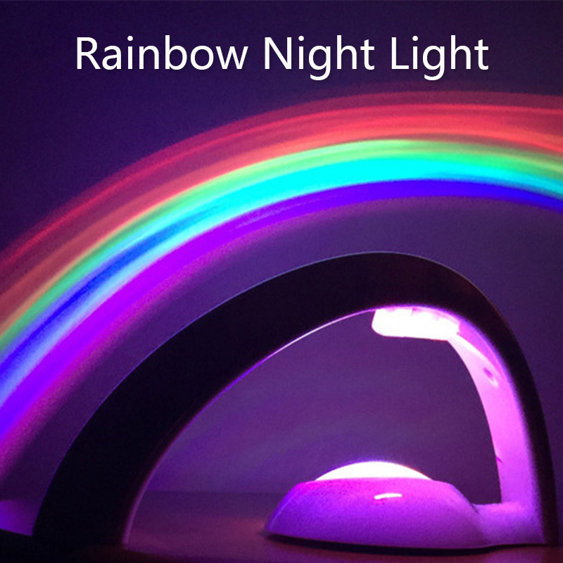 LIGINWAAT LED Colorful Rainbow Night Light Romantic Sky Rainbow Projector Lamp Portable Home Decor For Children Sleeping Bedroom