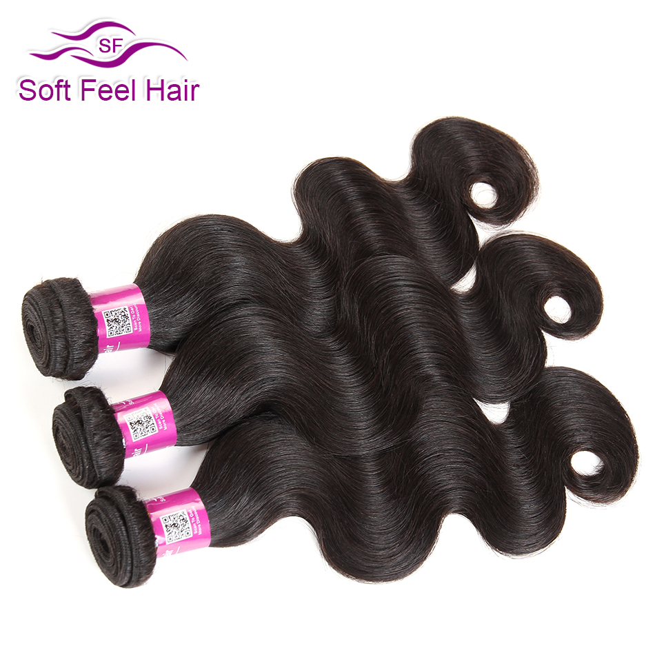 Soft Feel Hair Brasileño Body Wave Bundles Paquetes de armadura de cabello humano Remy Extensiones de cabello Color natural 6-28 Pulgadas 1/3/4 Pcs / Lot
