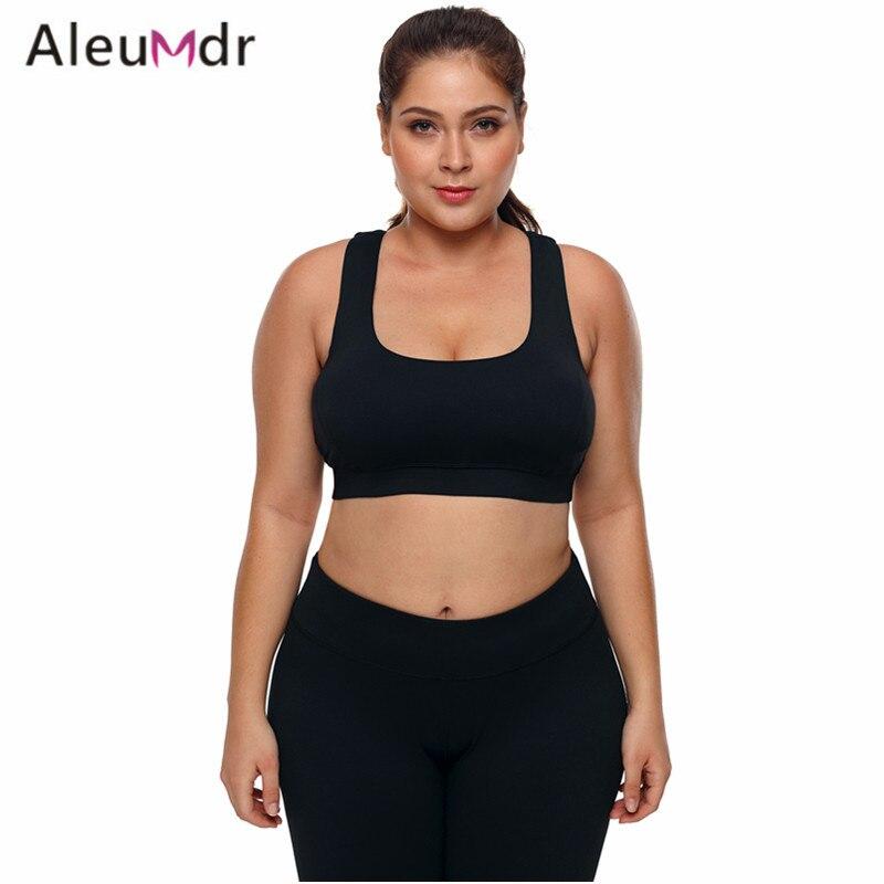 6376b7b1e Aleumdr Active Wear Women Gym High Stretch Sport Bra Black Plus Size  Racerback U-shaped