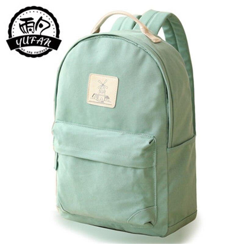 2017 Spring Newest Fashion YuFan Brand Fresh Soft Canvas Polyester Solid Women Backpack Mochila Bts Women