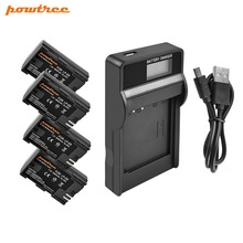 Powtree For Canon 4PCS 2800mAh 7.2V LP-E6 LP E6 LPE6 Camera Battery + LCD Charger EOS 5D Mark II III 7D 6D