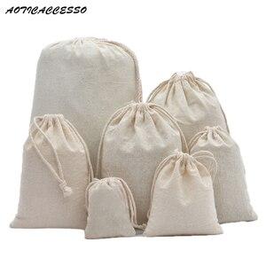 Сумка на шнурке из чистого хлопка, сумка для белья, сумка для путешествий, кошелек для монет, Женская тканевая сумка, рождественский подарок,...
