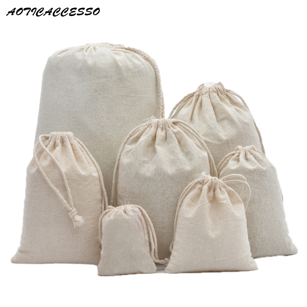 Pure Cotton Muslin Drawstring Bag Laundry Travel Storage Pouches Coin Purse Women Cloth Bag Christmas Gift Packaging