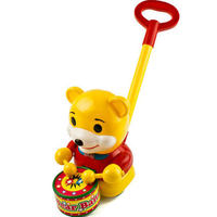 Young Children Learning To Walk Good Helper Push Rod Drag Trolley Drums Toy Bear Knock Drum Music