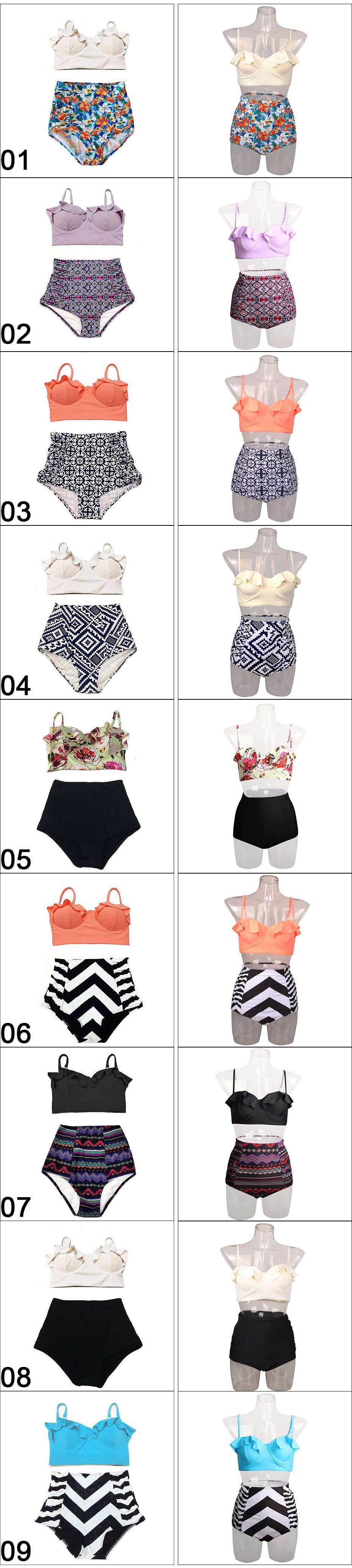 TQSKK 19 New Bikinis Women Swimsuit High Waist Bathing Suit Plus Size Swimwear Push Up Bikini Set Vintage Retro Beach Wear XXL 4