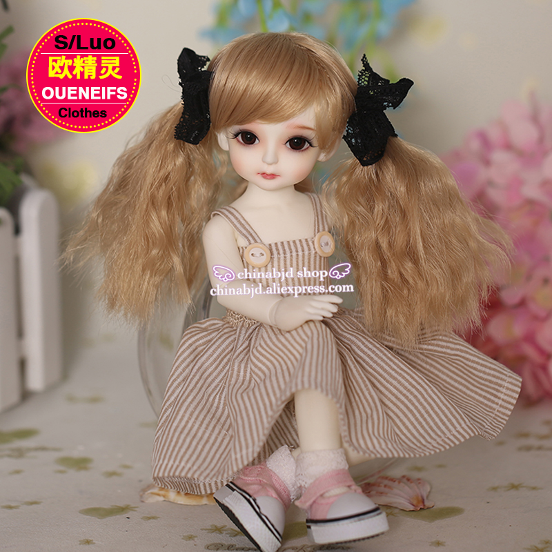 OUENEIFS free shipping bjd sd baby 1/6 girl Dress doll collar strapless gown skirt elegant casual clothes vertical stripes