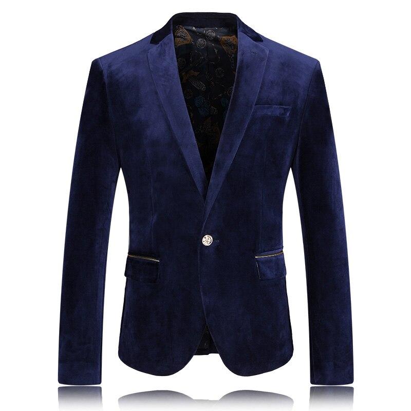 2019 New Mens Blazers Gentlemen High Quality Velvet Blazer Smooth Men's Coats Business Casual Suits Jackets Men Plus Size M 3XL - 6