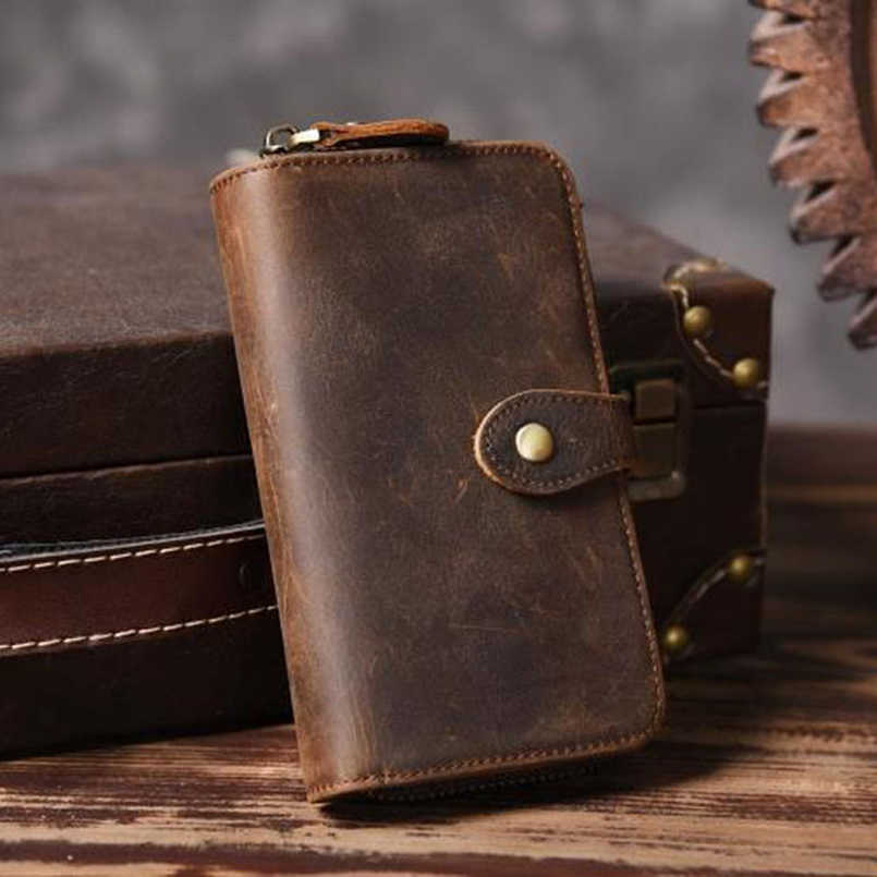 Vintage Crazy horse Genuine Leather Men Wallet Men Purse Long style Leather Wallet male Purse Clutch Bag Coin bag Money Clips