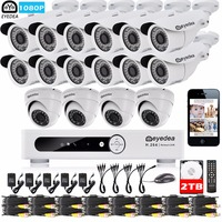 Eyedea 16 CH HDMI DVR Recorder 1080P 12 Bullet 4 Dome Night Vision CCTV Security Camera Video Surveillance System 2TB Hard Drive