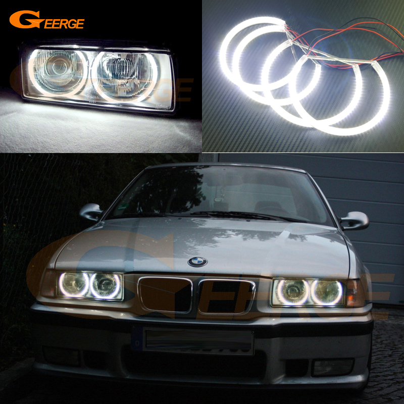 For BMW E46 3 Series with HID xenon headlights 1999-2004 Excellent smd led Angel Eyes Super bright 3528 SMD led Halo Ring kit 7000k xenon white smd led angel eyes halo ring lighting kit for bmw e46 3 series non projector free shipping