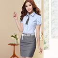 2015 work wear female skirt suits summer fashion OL women clothes shirt sets female office work wear plus size blouse and skirt