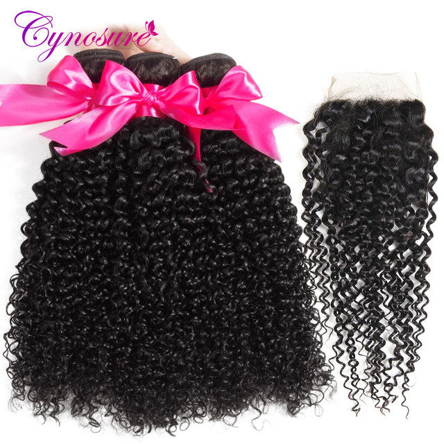 Cynosure Afro Kinky Curly Weave Human Hair Bundles with Lace Closure Non-remy Brazilian Hair Weave 3 Bundles with Closure