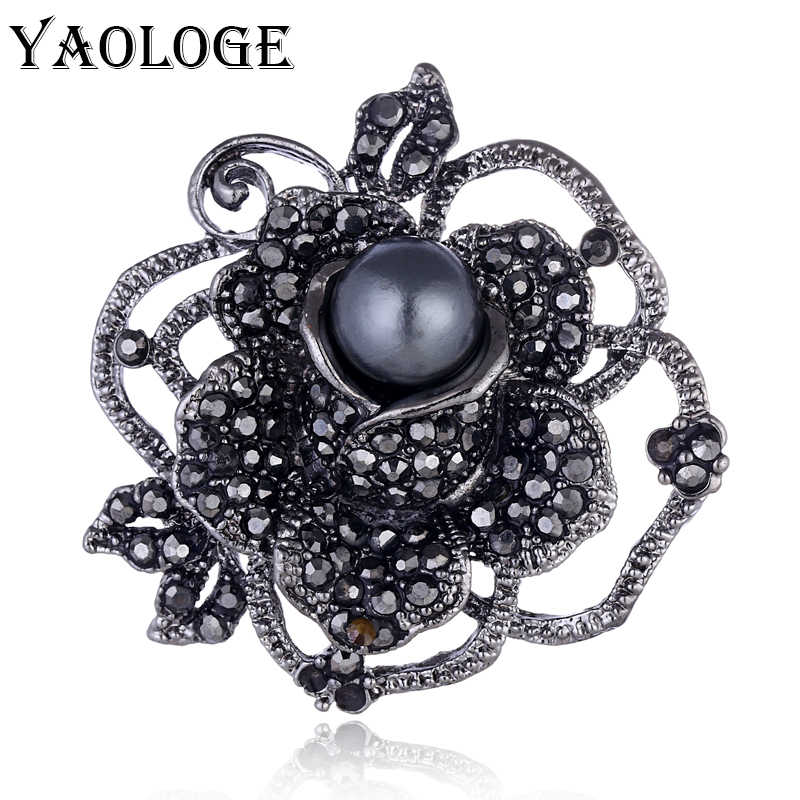 YAOLOGE Hot Sale Black Rose Flower Crystal Rhinestones Brooches & Pins Imitation Pearl For Women Party Clothing Accessories New
