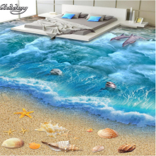 beibehang 3D Ocean World Nonwovens Waterproof Flooring Painting Custom Living Room Bathroom Floor Wallpaper