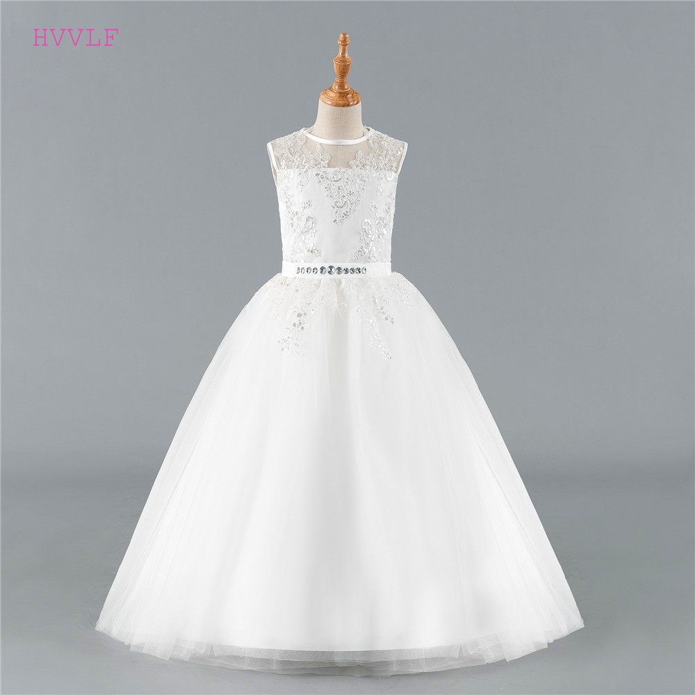 Ivory 2019 Flower Girl Dresses For Weddings Ball Gown Cap Sleeves Tulle Lace Crystals Long First Communion Dresses Little Girl