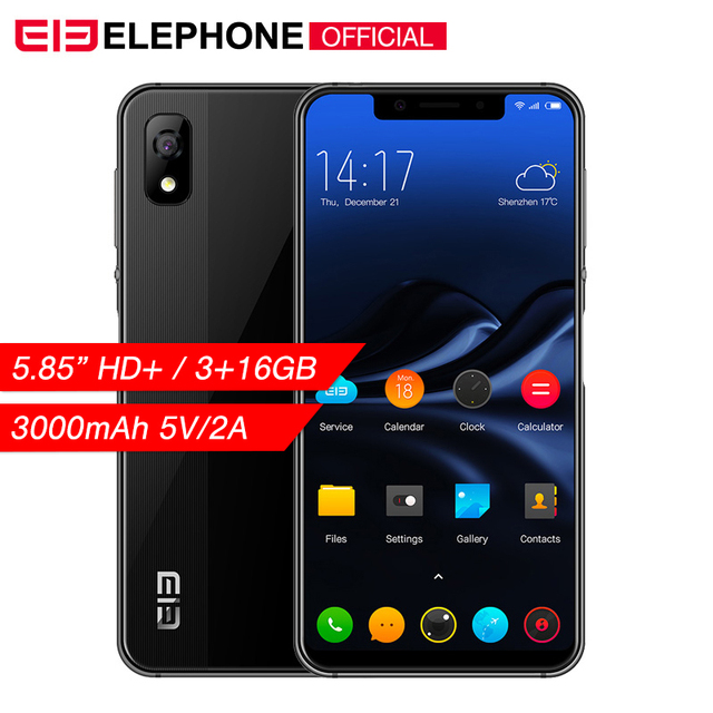 "Cargadores de coche Elephone A4 5,85 ""19:9 HD + primera pantalla teléfono móvil Android 8,1 MT6739 Quad Core 3 GB RAM 16 GB ROM 4G desbloquear teléfono inteligente"