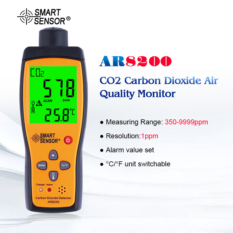 With Box Portable Carbon Dioxide CO2 Detector Meter Tester Monitor Range 0 5000PPM Sound Light Alarm Li battery AR8200|co2 detector|carbon dioxide|detector co2 - title=