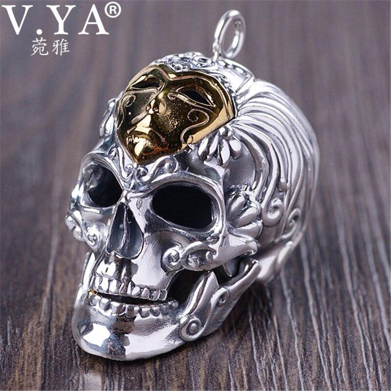 V YA Brass 925 Sterling Silver Skeleton Skull Pendants for Men Hyperbole Thai Silver Men Pendants