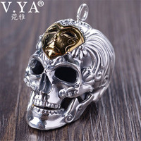 f6db9a384197 V YA Brass 925 Sterling Silver Skeleton Skull Pendants For Men Hyperbole  Thai Silver Men Pendants. V YA latón 925 de plata esterlina cráneo esqueleto  ...