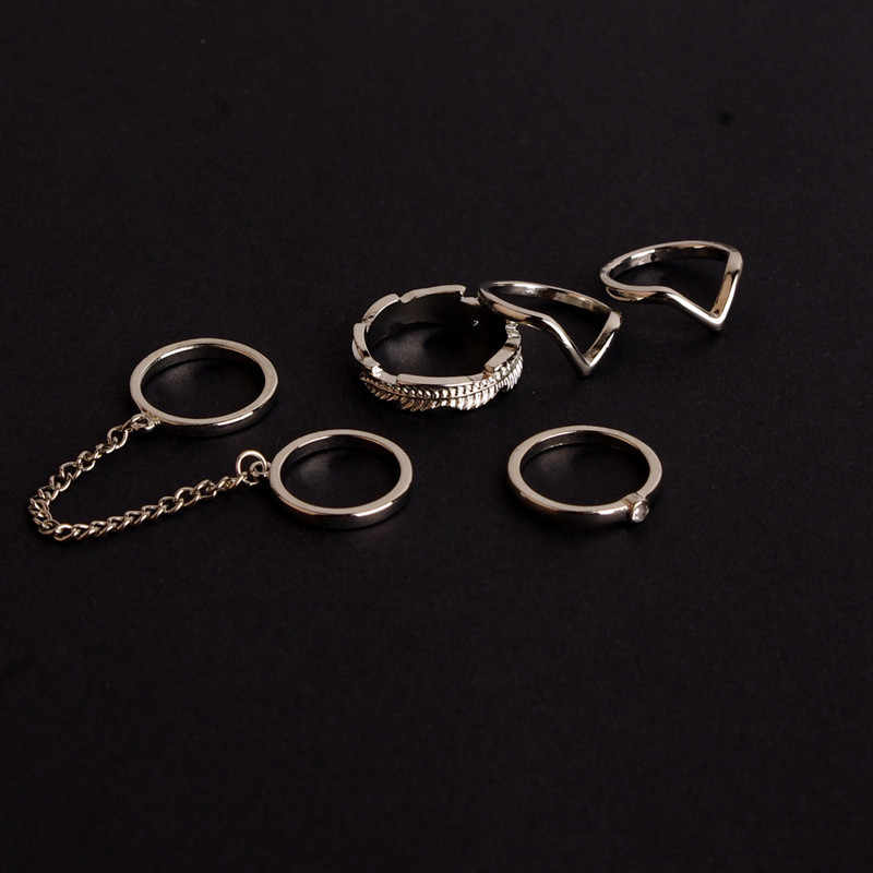 6 pçs/lote Conjunto Anel ajustável estilo Punk Cor do Ouro Knuckle Anéis para as mulheres Anel de Dedo midi Knuckle anéis Set gota grátis