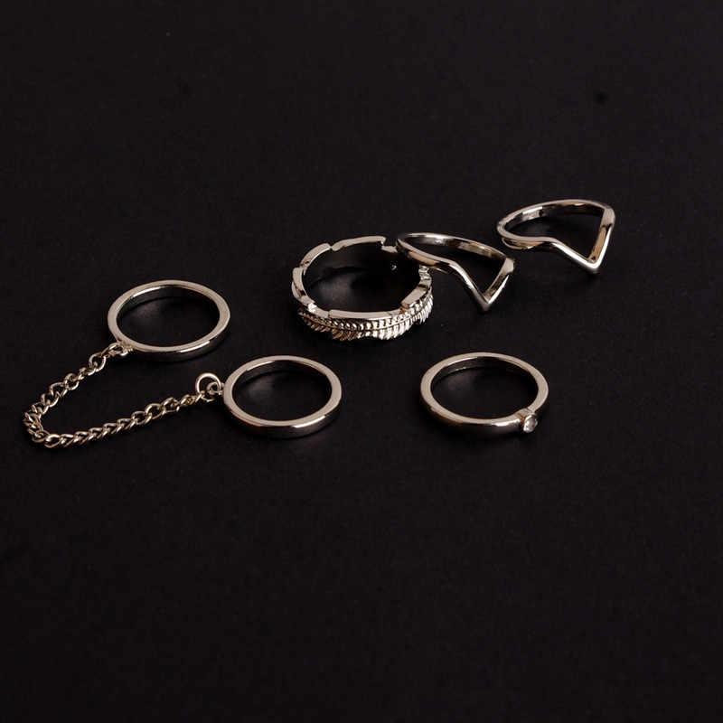 6 piunids/lote conjunto de anillo ajustable estilo Punk anillos de nudillos de Color dorado para mujeres midi anillos de nudillos de dedo conjunto de anillos de gota envío