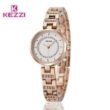 KEZZI Marca Reloj de Las Mujeres de Alta Calidad de La Manera Señoras Clásicas Del Reloj 3ATM Impermeable Femenina Reloj rhinestone Correa de reloj de Acero Completo
