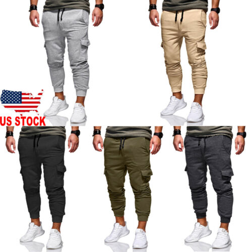 Men Casual Pocket Tracksuit Loose Sport Fit Jogging Joggers Sweat Cargo Pants Trousers