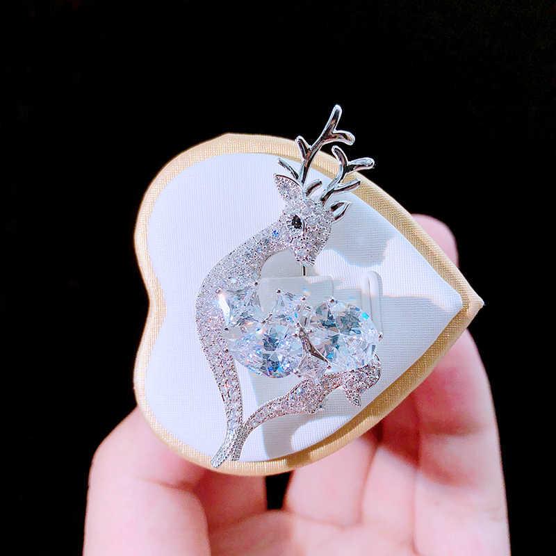 Asnora Baru Desain Zirkon Kristal Mengkilap Bros untuk Wanita Indah Rusa Hewan Bros Wanita Perhiasan Hadiah