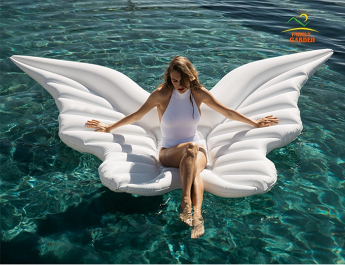 Inflatable Butterfly Air Floating Mattress Lounger For Women Swimming Pool With Gold and White Color