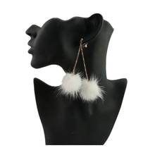 Charm Long Earrings for Women Imitation Mink Hair Drop Earring Fur Pom Pom Balls Earrings Studs Jewelry Cute Christmas Gift
