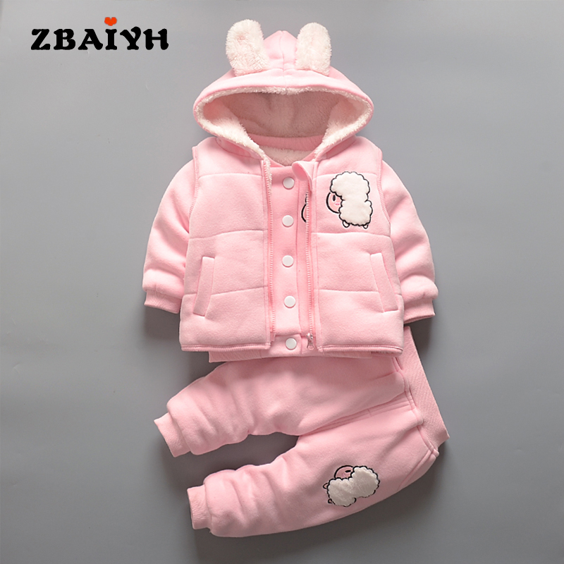 Baby girls Clothes 2017 winter warm Infant kids Sets Hooded coat + tops + pant 3 Pieces suit newyear Christmas outfit clothing
