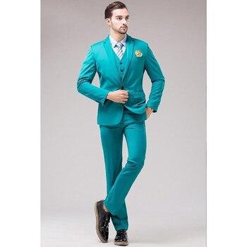 Hot Sale New Slim Fit Groom Tuxedos Notch Lapel Men's Suit Turquoise Groomsman Best Man Wedding Dinner Suits (Jacket+Pants+Vest)