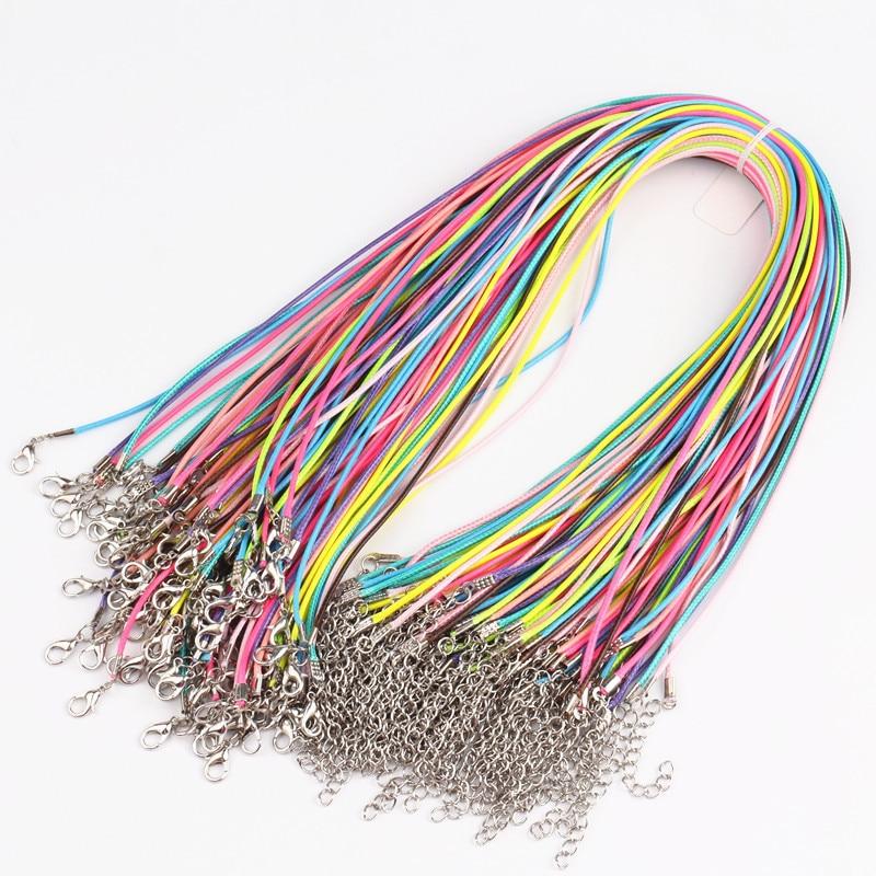 100 pièces mélange couleur 1.5mm cire cordon 17-18 collier cordon pour bricolage artisanat bijoux, homard fermoir noir cire cordon colliers