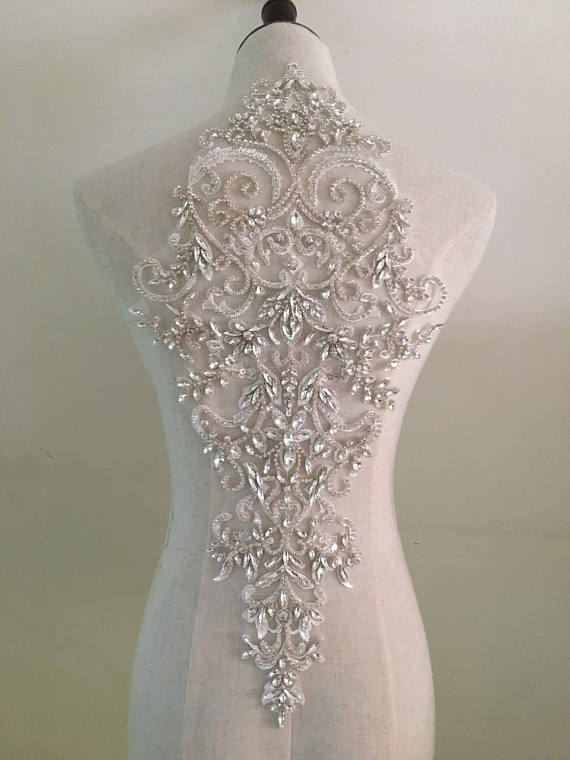 2018-style Deluxe Handmade Large Rhinestone Bodice Crystal Applique For Wedding Dress French Lace Sinblood Terry Malick Ballgown Arts,crafts & Sewing Home & Garden