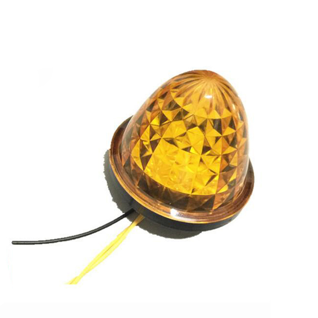 """24V 12V 2X 3"""" 16-LED  Truck Side Marker Lights Red and Amber Beehive Dome Clearance Cab Roof"""