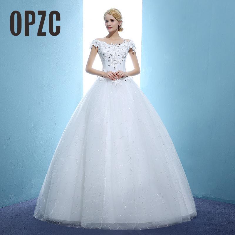 2020 New Arrived Fashion Summer Lace Flower Brida Gown Cheap Plus Size Boat Neck Wedding Dresses vestidos de noivas With Crystal