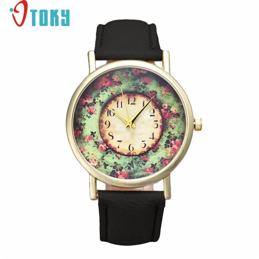 Hot 2018 Pastorale Floral Leather Band Analog Quartz Dial Watches Women Gift Wrist Watches Bangle Bracelet Relojes 80710 women steel bangle wrist crystal round dial analog digital bracelet watch new hot selling