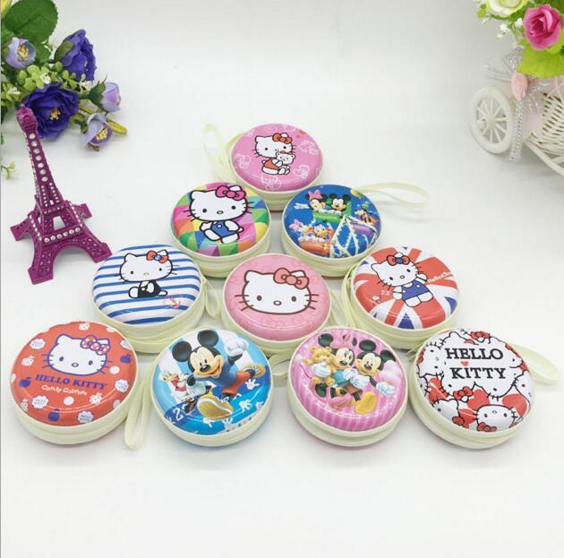 1 Pcs Kawaii Hello Kitty Cartoon Zipper Storage Bags.Iron Box Headset Earphone Bag.Cute Portable Children Coin Purse.Kid Gift