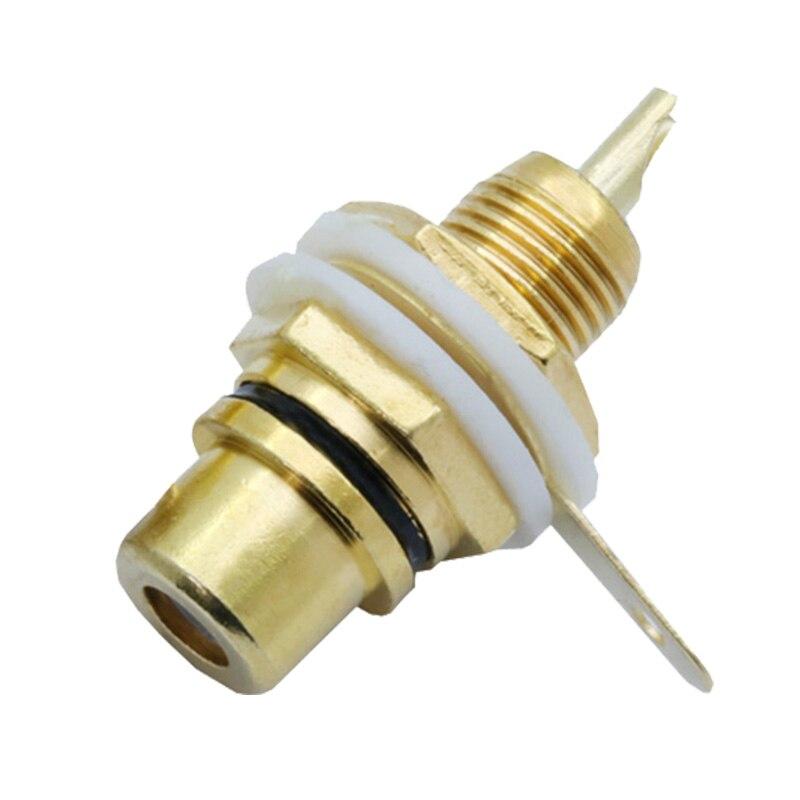 1 пара разъем RCA позолоченный разъем RCA Разъем Панель Крепление Шасси аудио разъем переборка с гайкой припой чашка