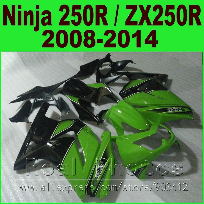 OEM Green Black Kawasaki Ninja 250r Fairings Kit EX250 2008 2014 Year Model ZX250R 08 09 10 11 12 13 14 Fairing Kits R8L6 In Covers Ornamental Mouldings