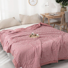 цены water washed 100% Cotton Gauze Blanket Muslin Quilt Comforter Bedding Quilted Coverlet Soft Summer Bedding Coverlet