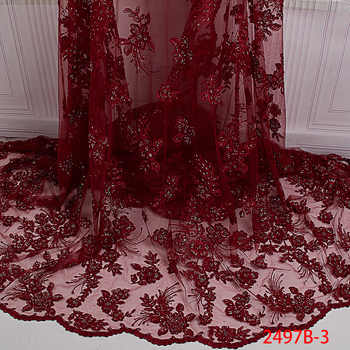 Nigerian Lace Fabric Handmade Luxury Embroidered Mesh African Beads Lace fabric High Quality French Tulle Lace Wine L2497B-2 - SALE ITEM - Category 🛒 Home & Garden