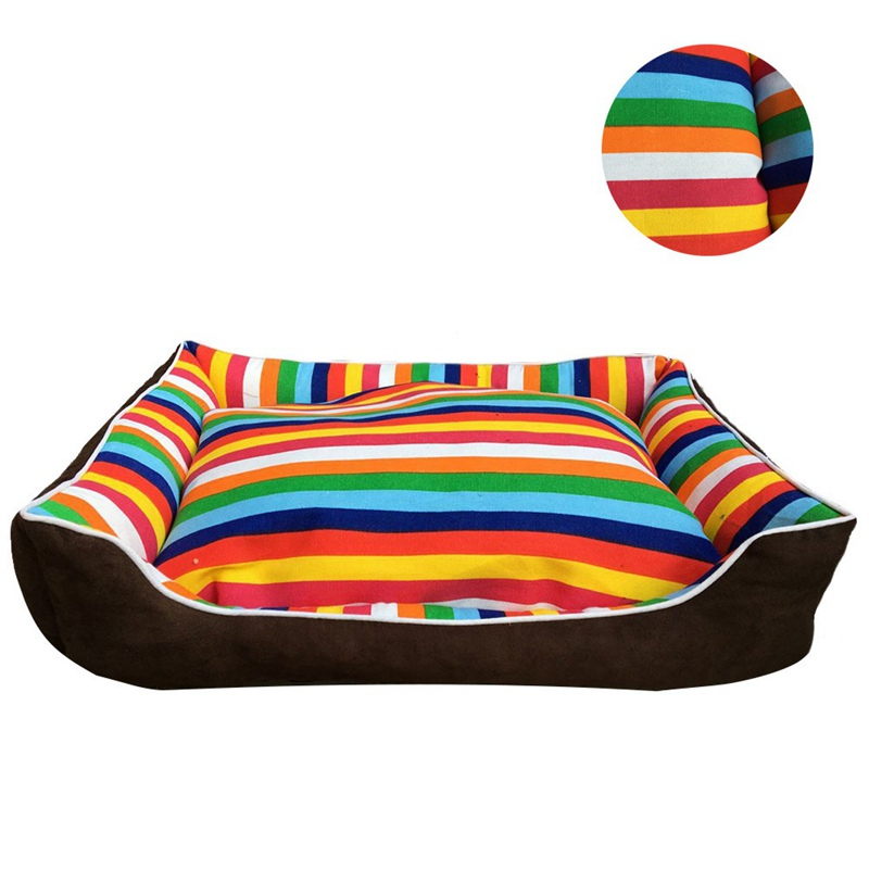 Pet Dog Beds Thick Colorful Stripes House Sofa For Puppy Cat Mat Home Dog Products 2 Sizes