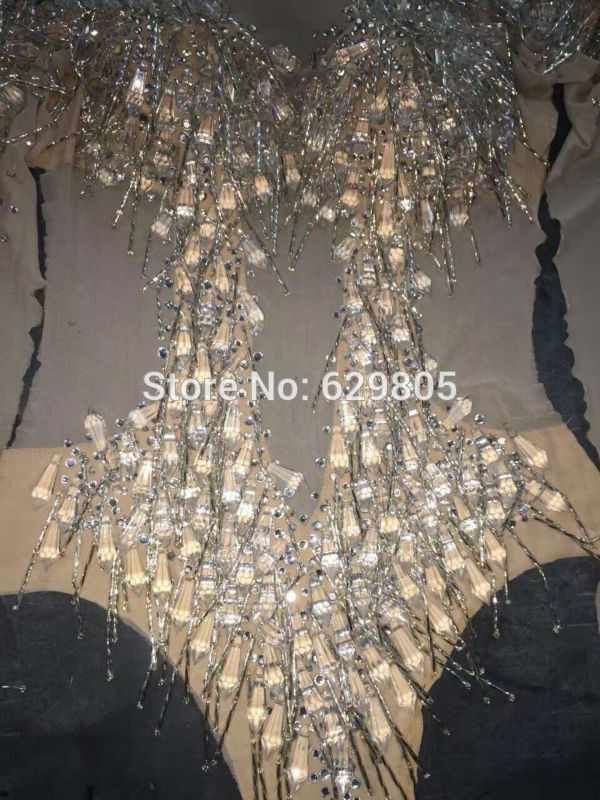 Новые модные пикантные блестящими камнями этап одежда кристалл купальник с кисточками с блестками костюм для ночного клуба праздновать вечерние женские Одежда для пения