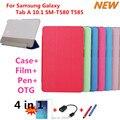 Для Samsung Galaxy Tab, 3-папки Прозрачный смарт Стенд Крышка кожаный Чехол Для Samsung Galaxy Tab 10.1 SM-T580 T585 таблетки