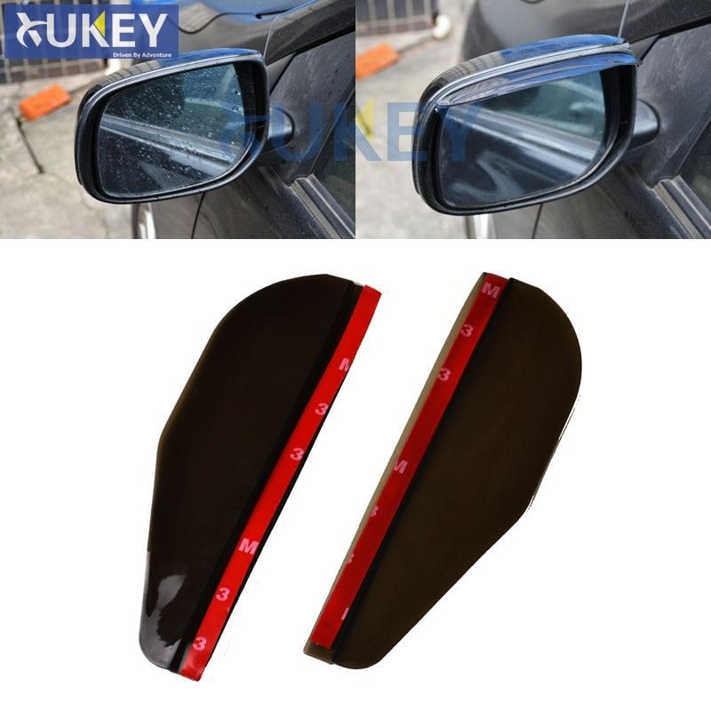 2Pcs Car Rear View Wing Mirror Sun Rain Visor Shield Rain Board Eyebrow Guard Black