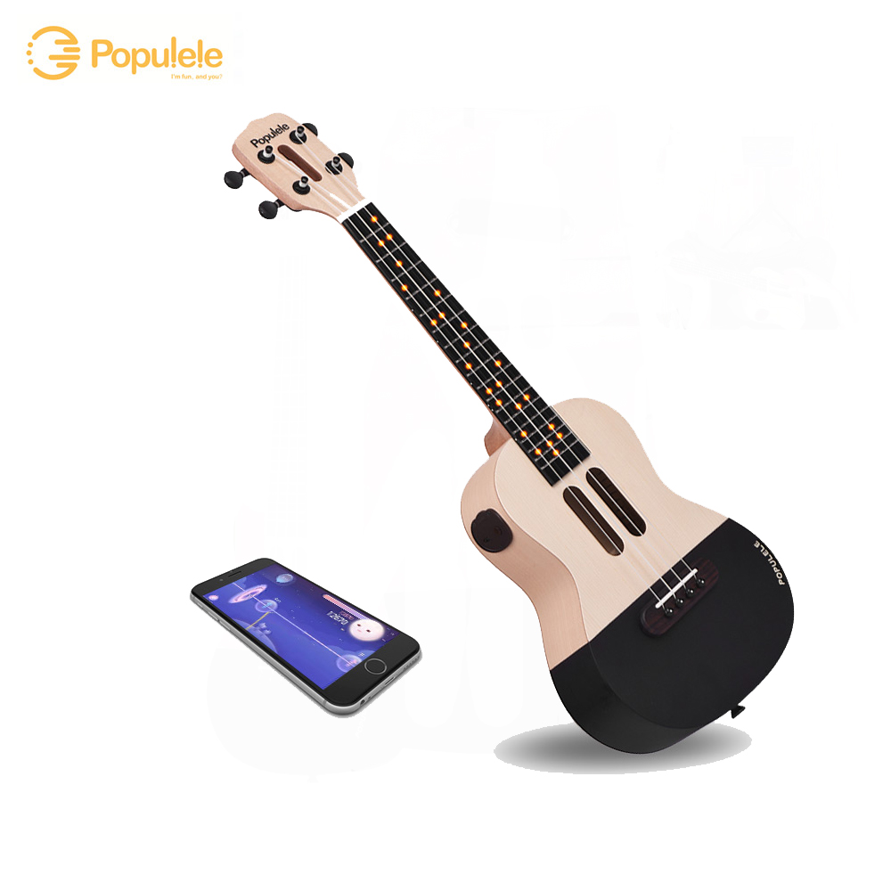 "23"" Smart Concert Ukulele Ukelele Uke Kit Supports APP Teaching Connection ABS Fretboard with LED light"