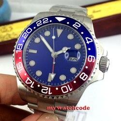 43mm bliger niebieska sterylna tarcza GMT ceramiczna ramka szkiełka zegarka okno daty szafirowe szkło automatyczny męski zegarek P323 w Zegarki mechaniczne od Zegarki na