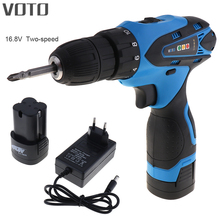 VOTO AC 100 – 240V Cordless 16.8V Electric Screwdriver with Two-speed Adjustment Button and 2 Li-ion Batteries